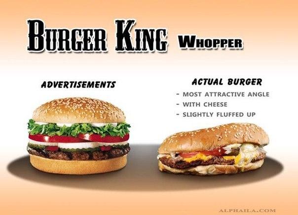 Фотограф сравнил бургеры в рекламе и в реальной жизни.